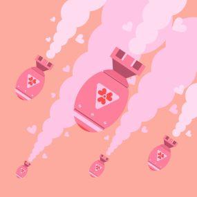 36512049 - flat design of love bombs falling form sky illustration vector
