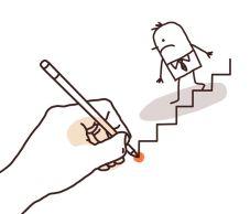 Drawing Big Hand - Cartoon Businessman Going Down